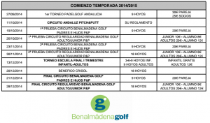 benalmadena golf calendario competiciones fin 2014